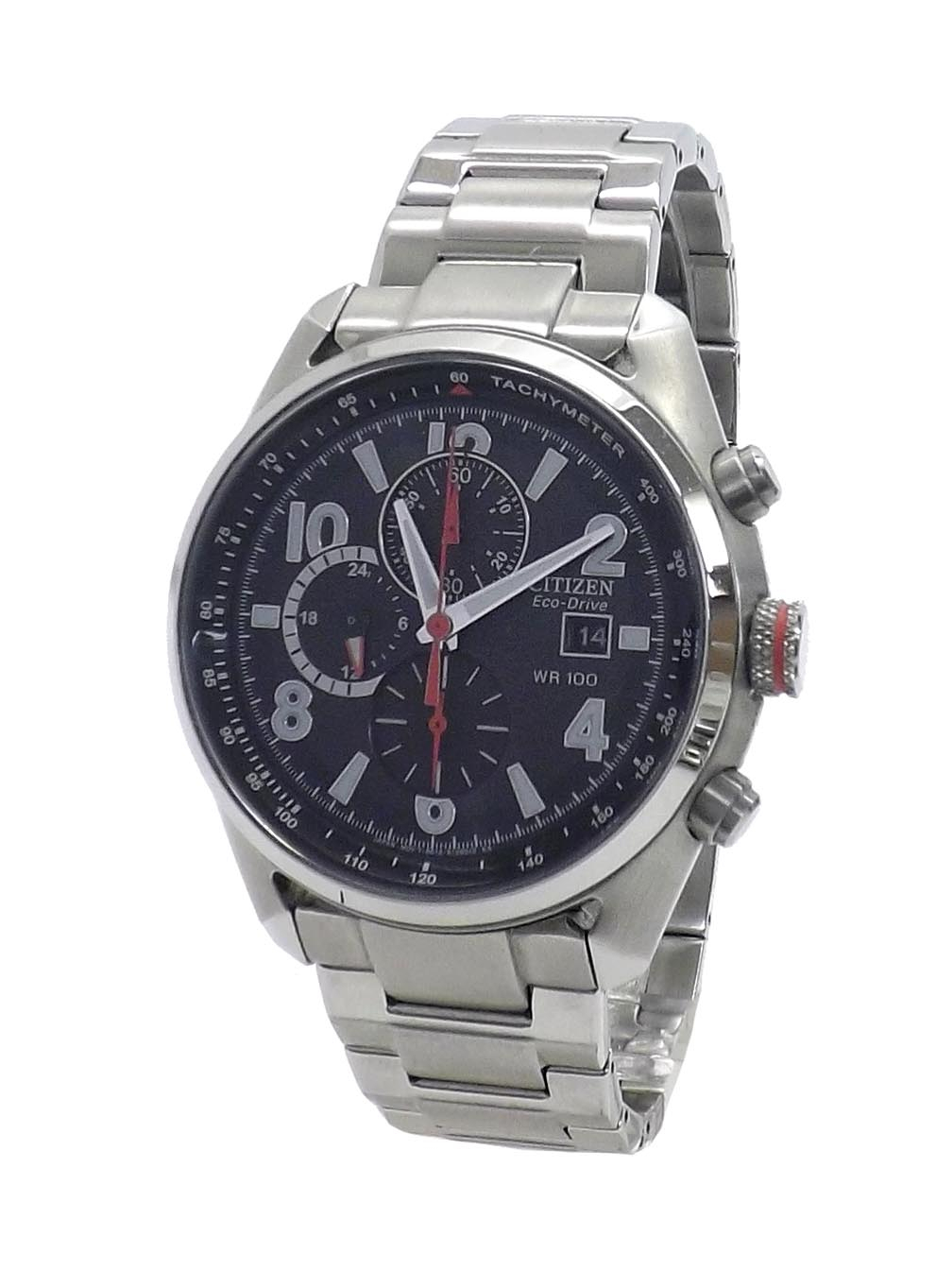 Citizen Eco-Drive Wr 100 Chronograph Stainless Steel in Citizen Eco Drive Chronograph Wr100 Manual