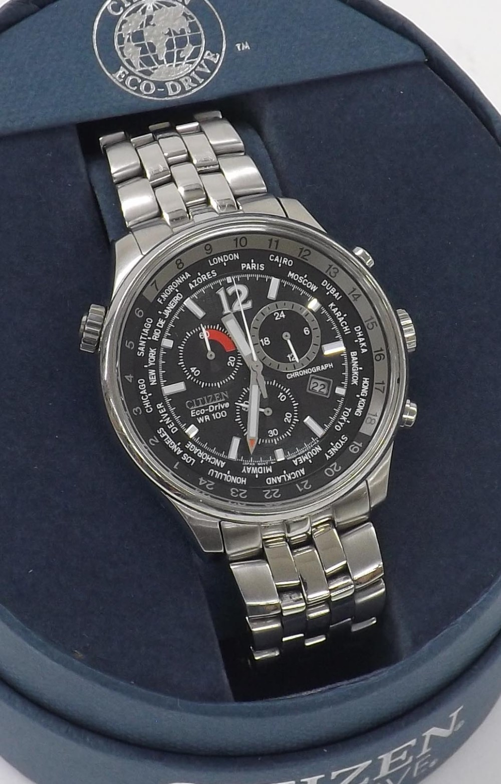 Citizen Eco-Drive Wr100 Chronograph Stainless Steel within Citizen Eco Drive Chronograph Wr100 Manual