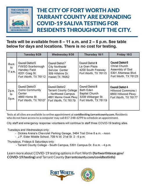 City, County Announces This Week'S Covid-19 Testing Sites regarding Fort Worth Isd Employee Calendar