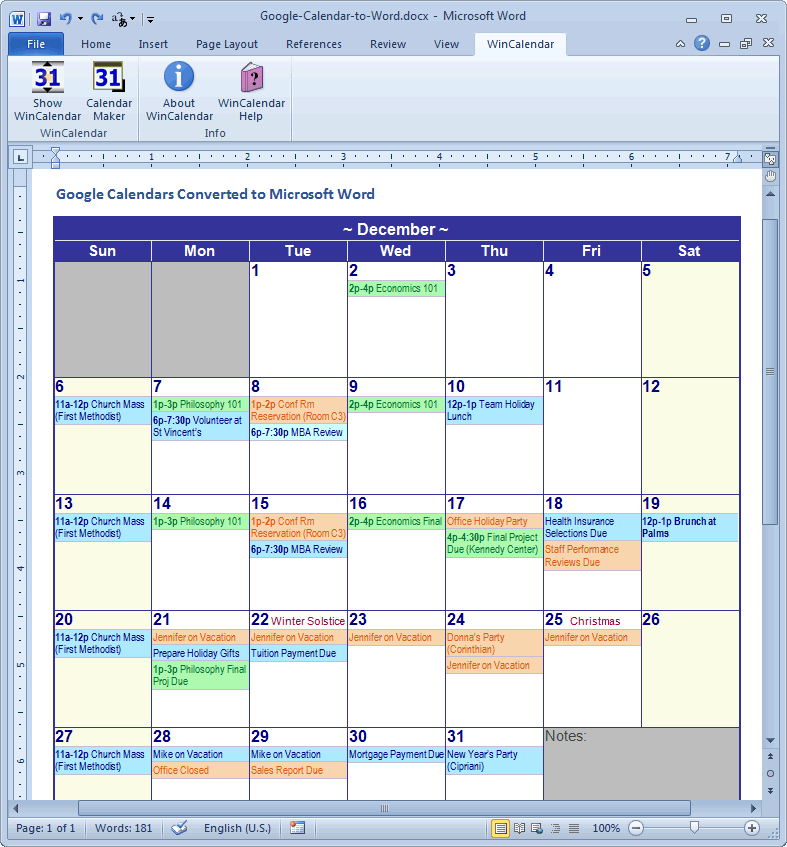 Convert Google Calendar To Excel And Word Format pertaining to Excel Convert To Calendar