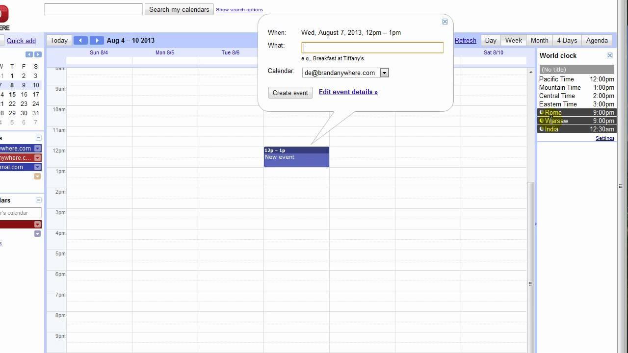 Convert Time Zones With Google Calendar - World Clock in Excel Convert To Calendar