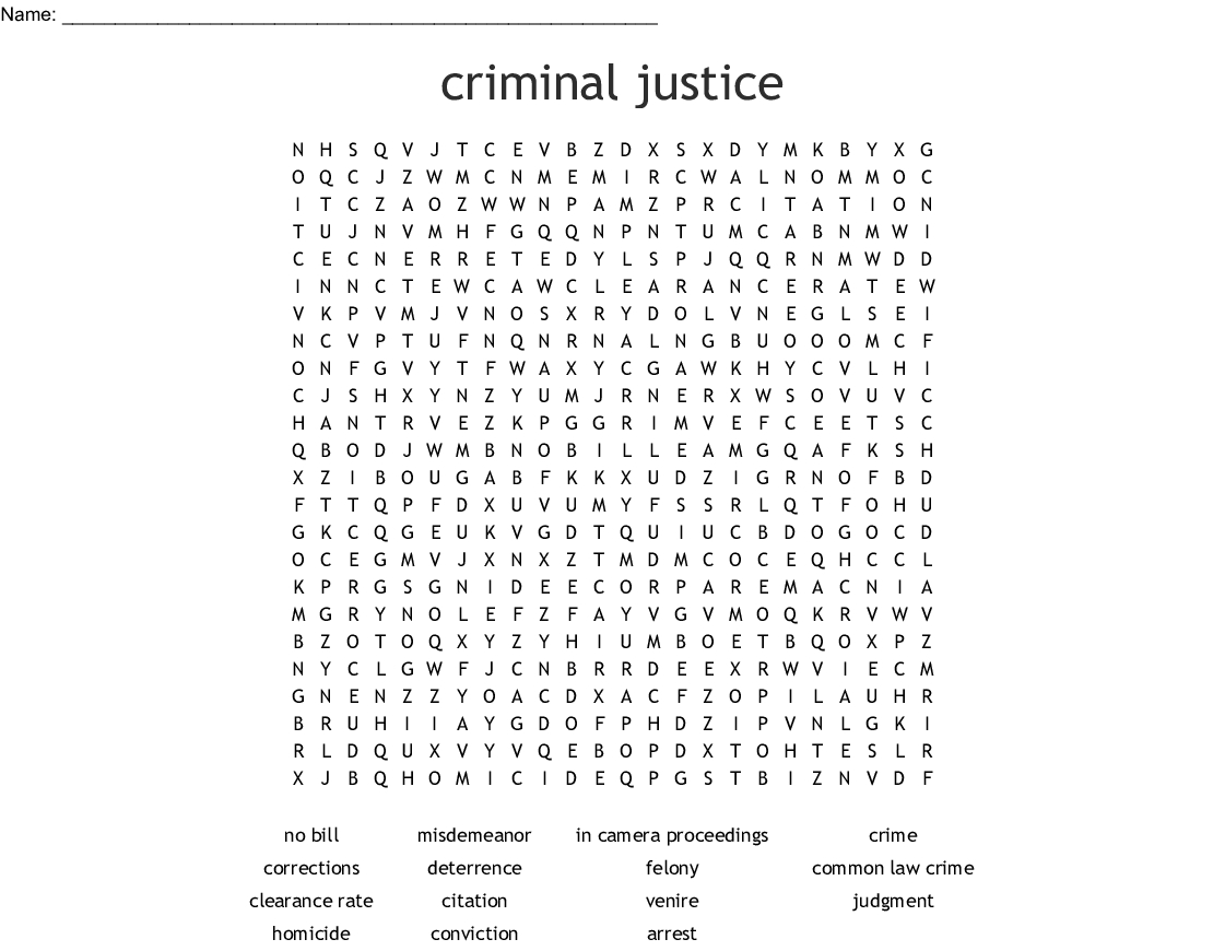 Criminal Law Vocabulary Word Search - Wordmint intended for Court Bail Out Citing Calendar