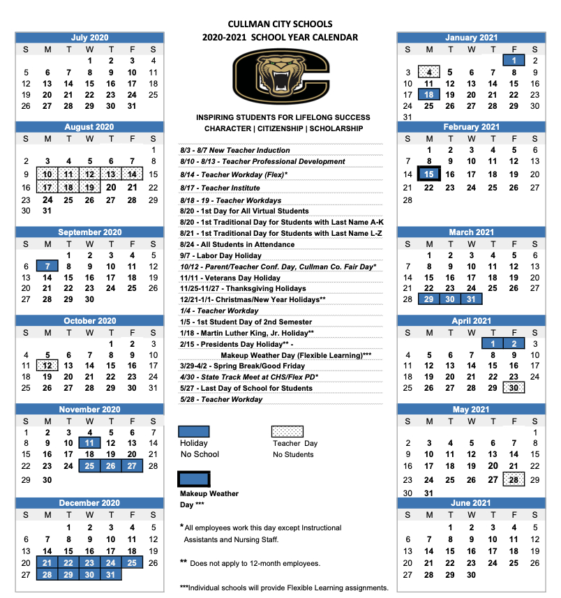 Cullman County Schools Calendar 2021 2022 | Calendar 2021 intended for 2022 Monterey County Schedule