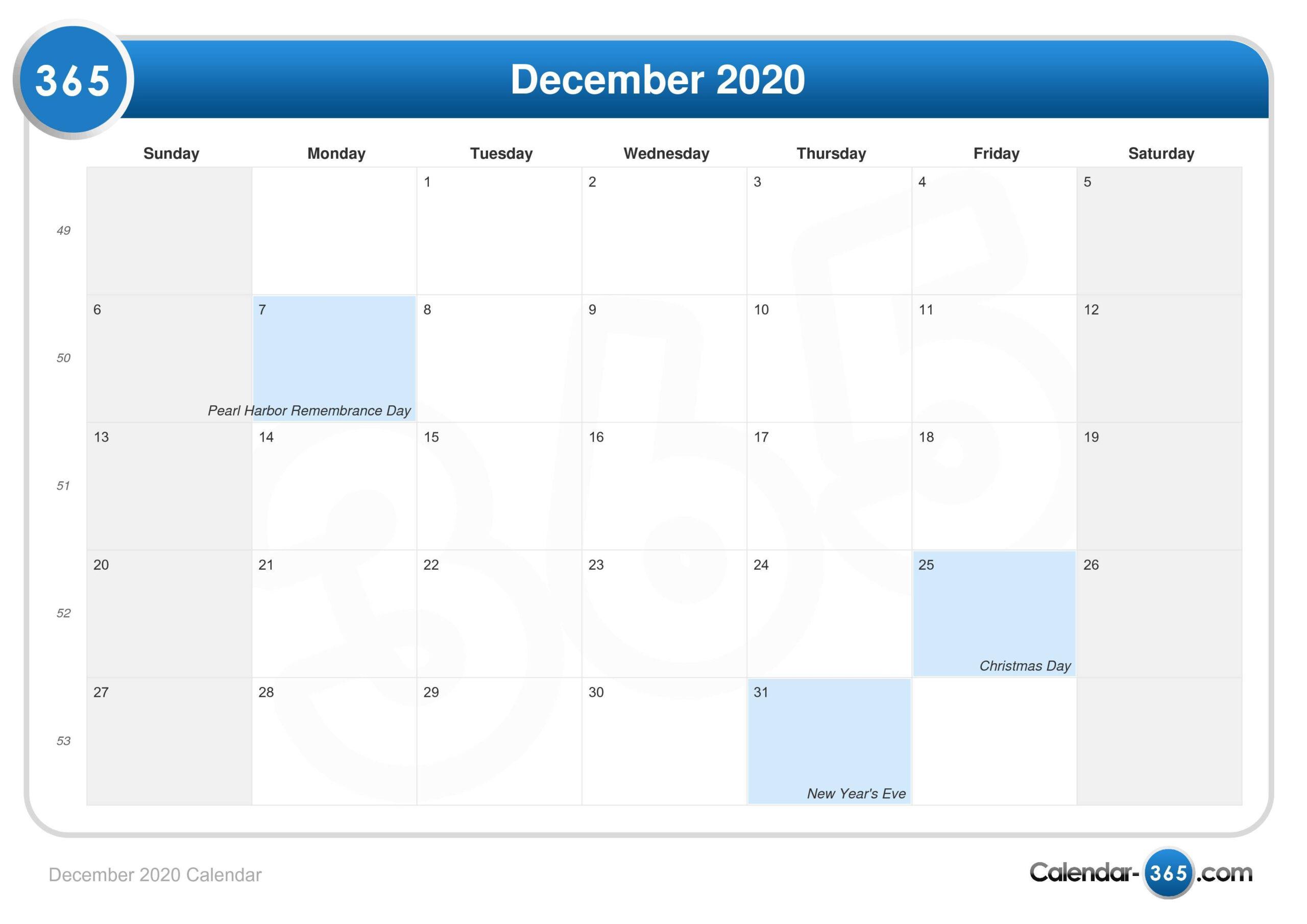 Dec 2020 Calendar   Free Printable Calendar for Are Daily Holiday Calendars Copyright