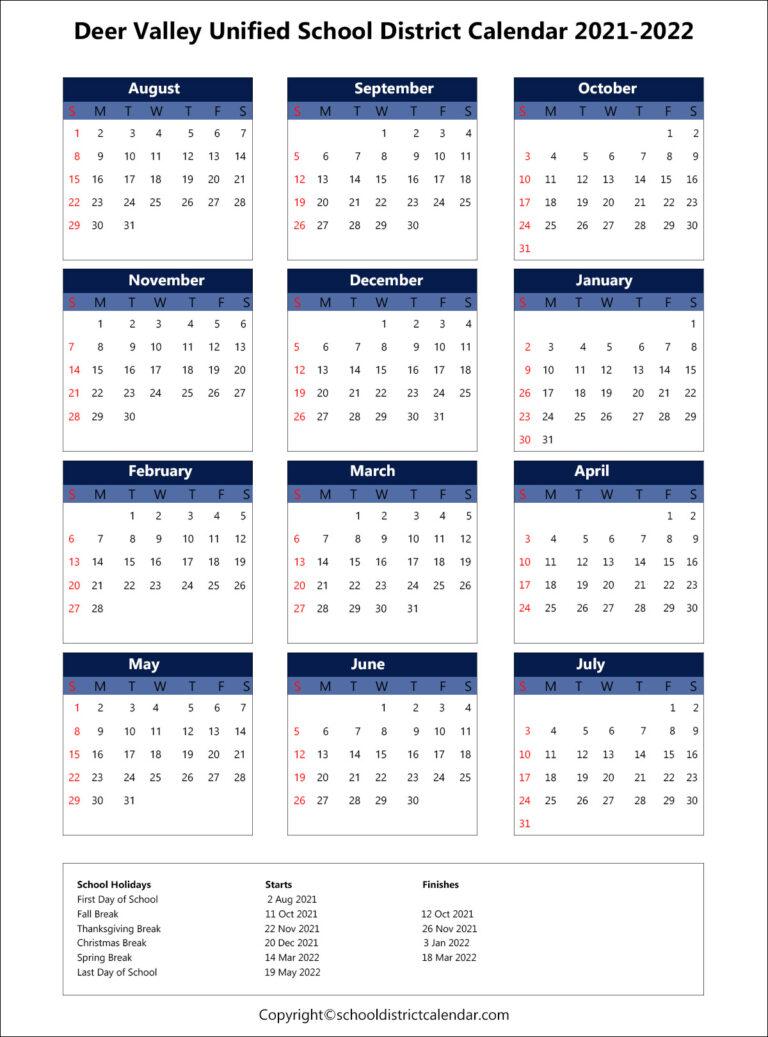Deer Valley Unified School District Calendar Holidays 2021 with regard to Fresno Unified School Calendar 2022