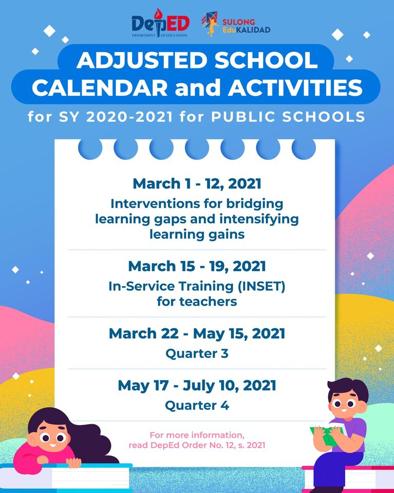 Deped Amends Sy 2020-2021 Calendar To Provide Learning Interventions   Department Of Education intended for Calendar Department Of Education