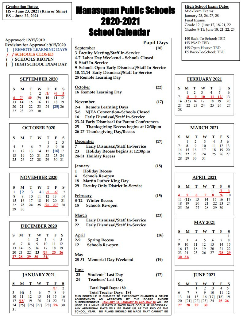 District Calendar / Current Year 2020-21 throughout Nyc Board Of Education Calendar 2022