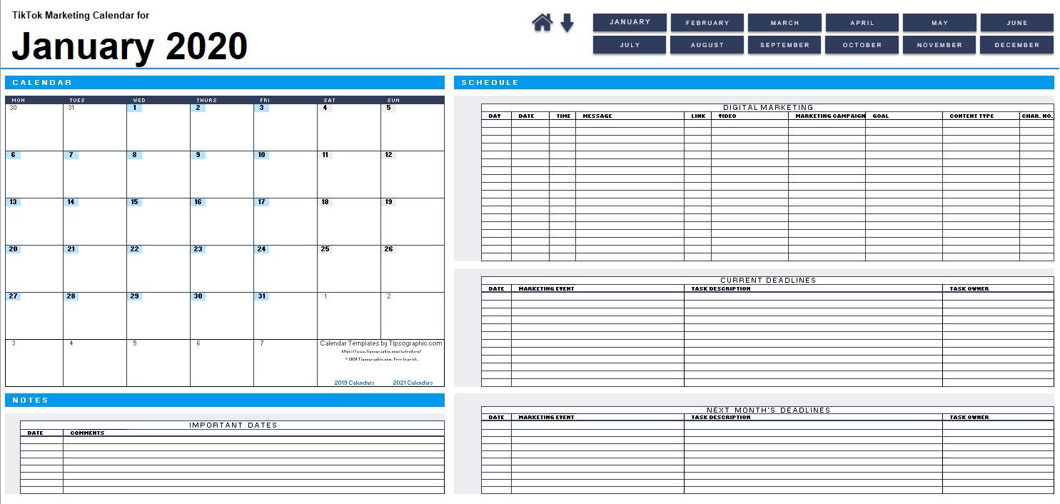 Download The 2020 Tiktok Marketing Calendar (Blank, Monday pertaining to Jfrd 2022 Shift Calendar