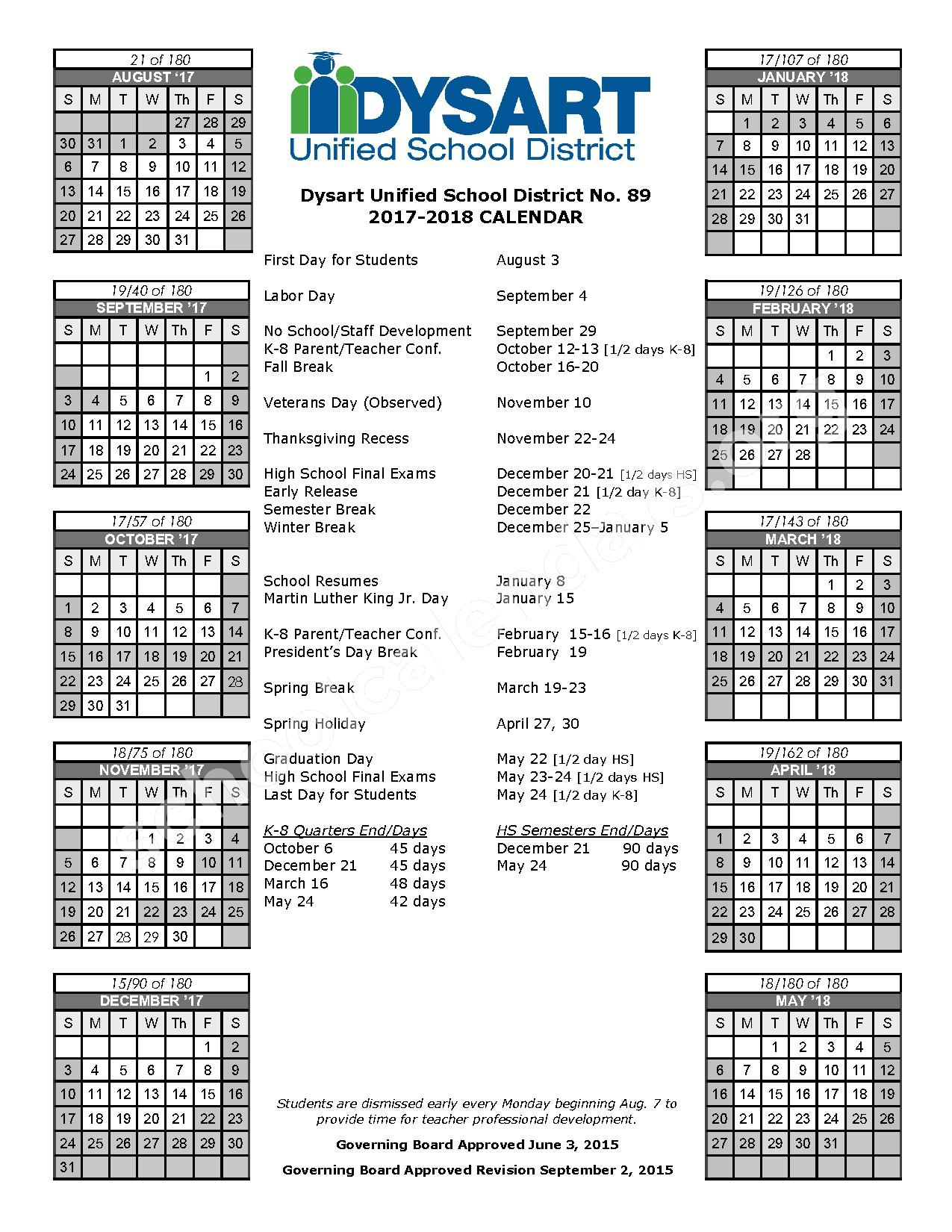 Dysart Unified School District #89 Calendars - Surprise, Az with 2022 2023 Altoona Area School District Calendar