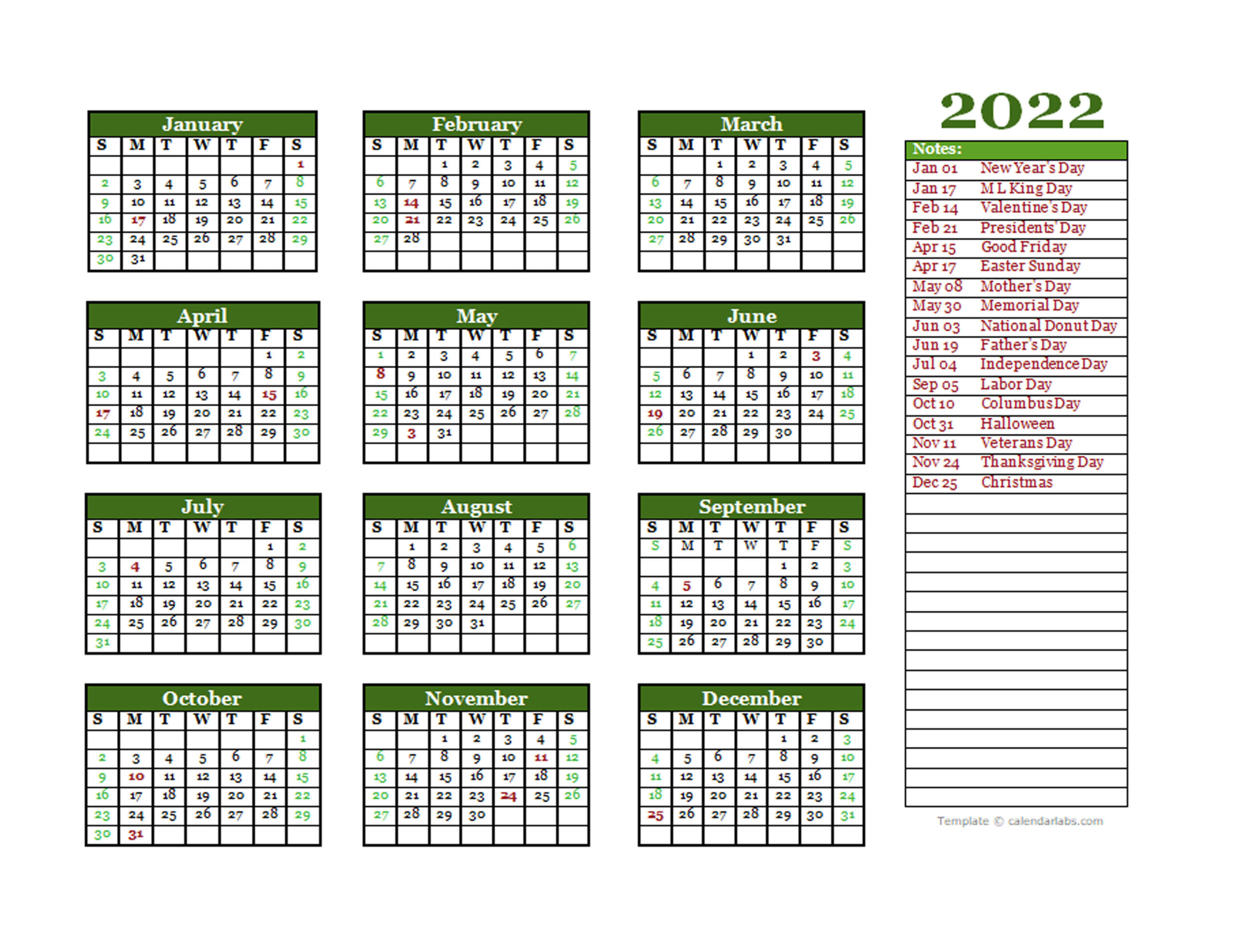 Editable 2022 Yearly Calendar Landscape - Free Printable with Yearly Julian Calendar 2022