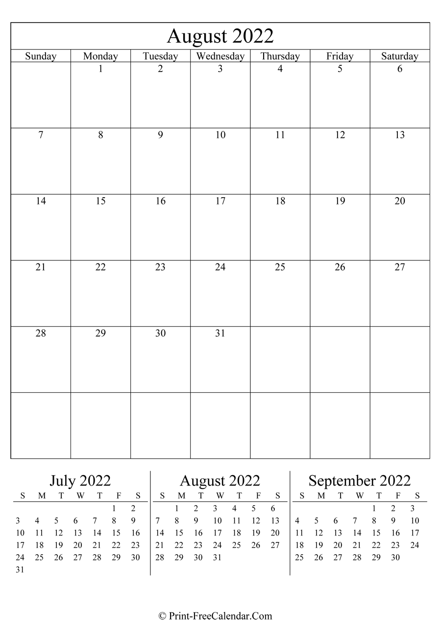 Editable Calendar August 2022 (Portrait Layout) in 2022 Day To Day Calendars For Men