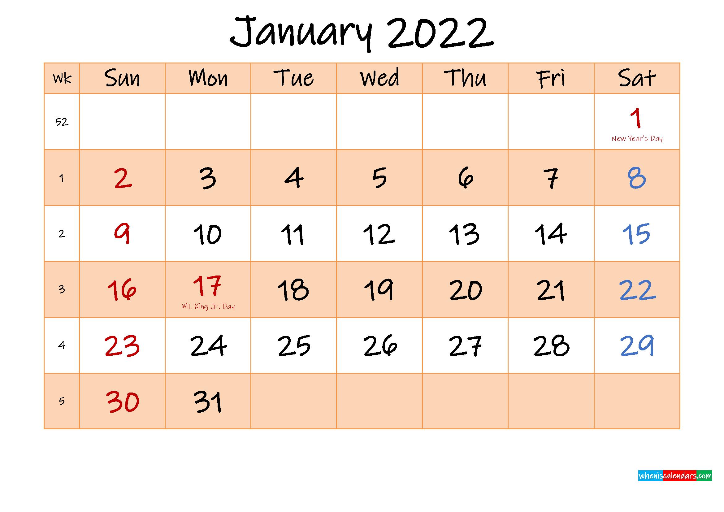 Editable January 2022 Calendar - Template No.ink22M481 in January 2022 Calendar With Julian Dates
