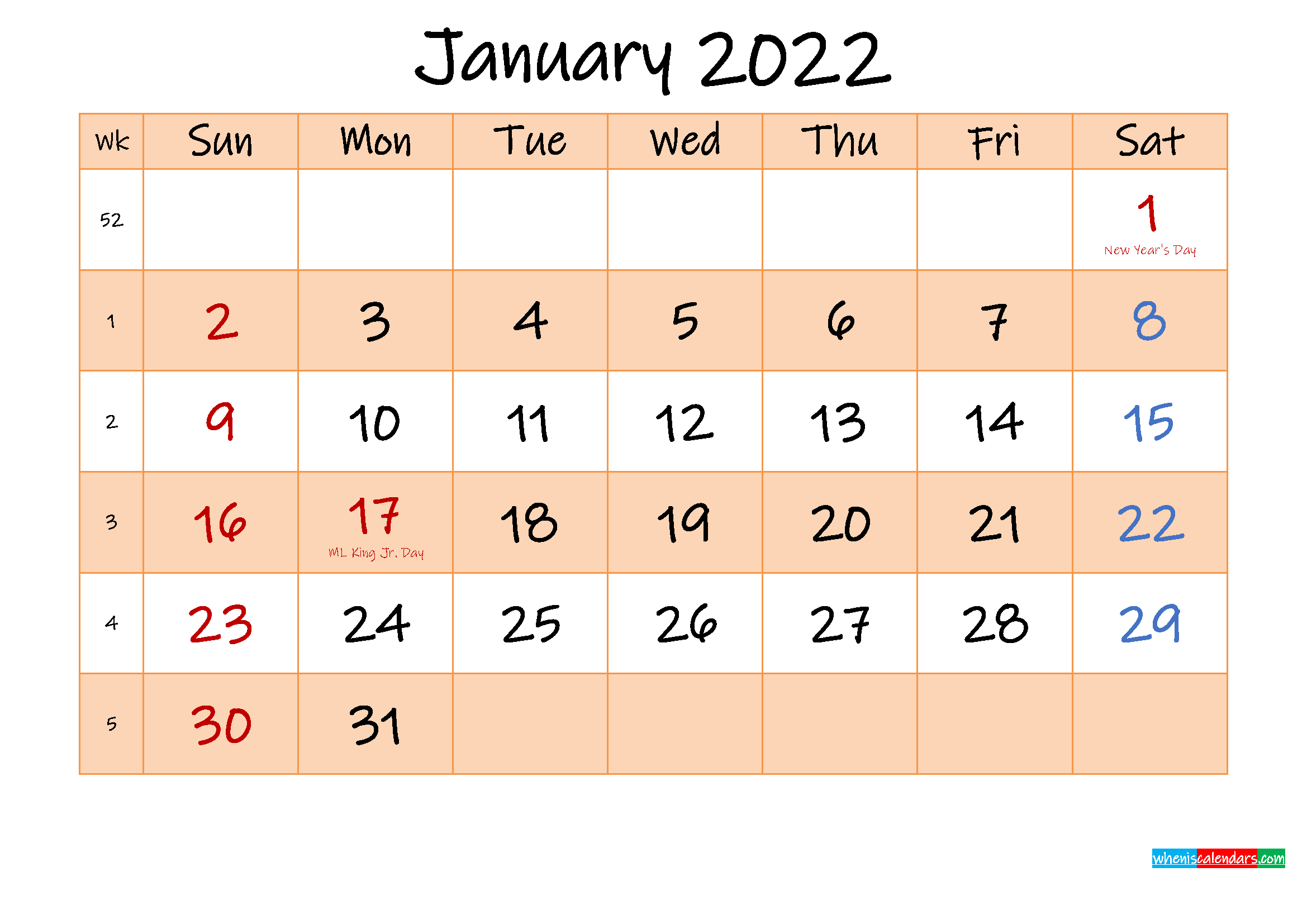 Editable January 2022 Calendar - Template No.ink22M481 with 2022 Day To Day Calendars For Men