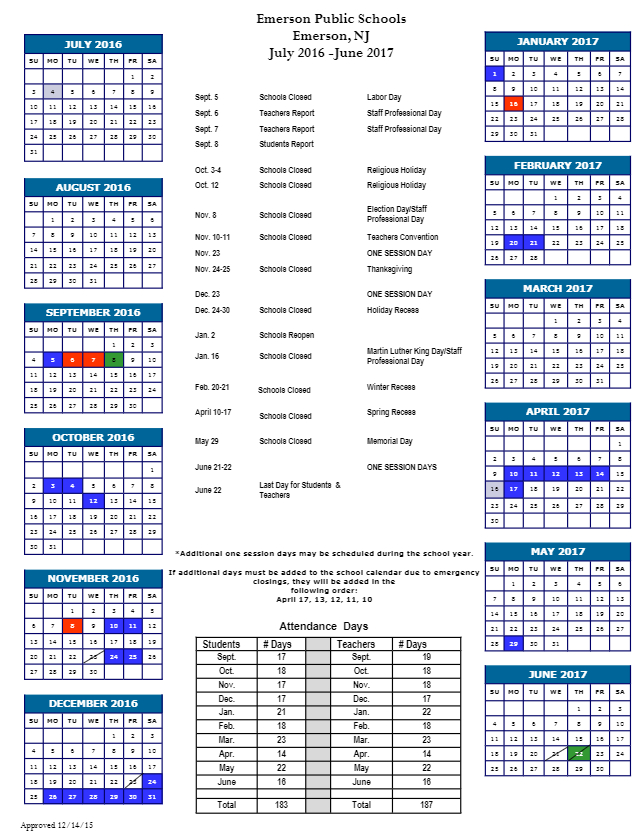 Emerson Board Of Education :: Academic Calendar in Calendar Department Of Education