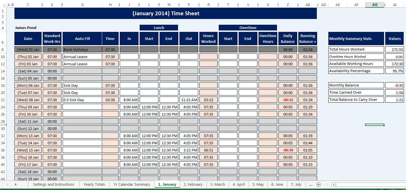 Employee, Staff Time Sheet & Calendar Reusable, Microsoft for Excel Convert To Calendar