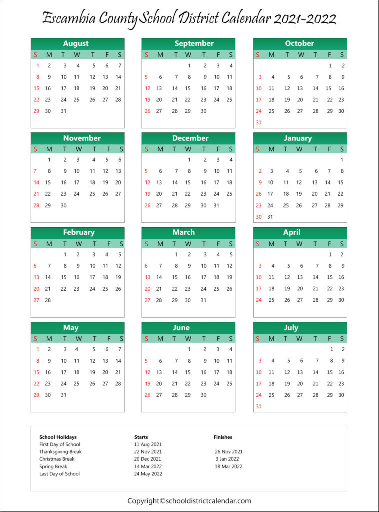 Escambia County School District Calendar Holidays 2021-2022 with regard to Fresno Unified School Calendar 2022