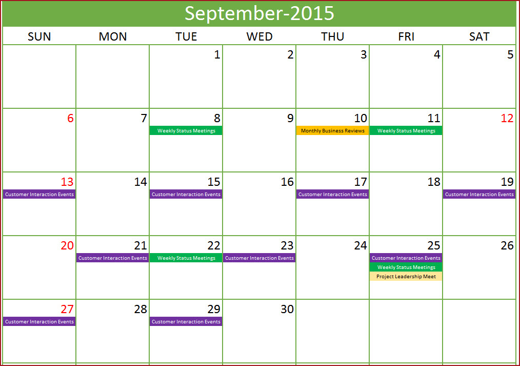 Event Calendar Maker Excel Template   Indzara for Formate Excell To Calendar