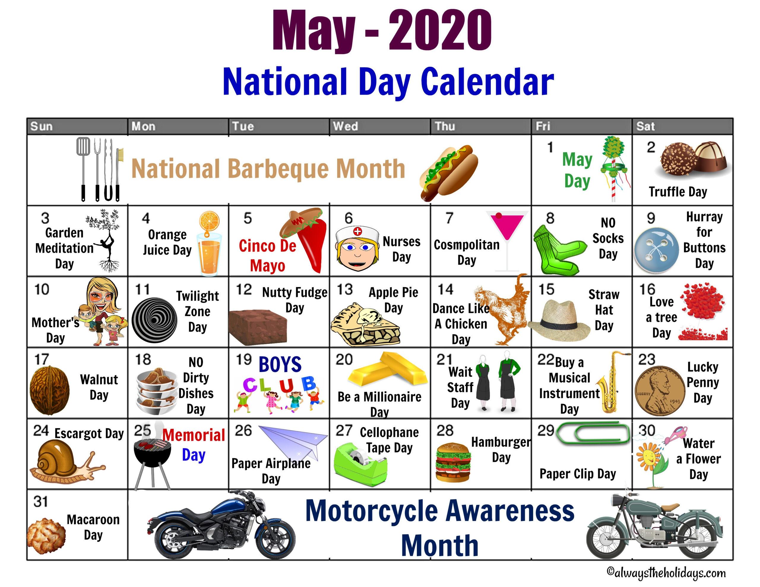 Every Day Is A Holiday Printable | Printable Calendar 2020 with Every Day Holiday Calendar