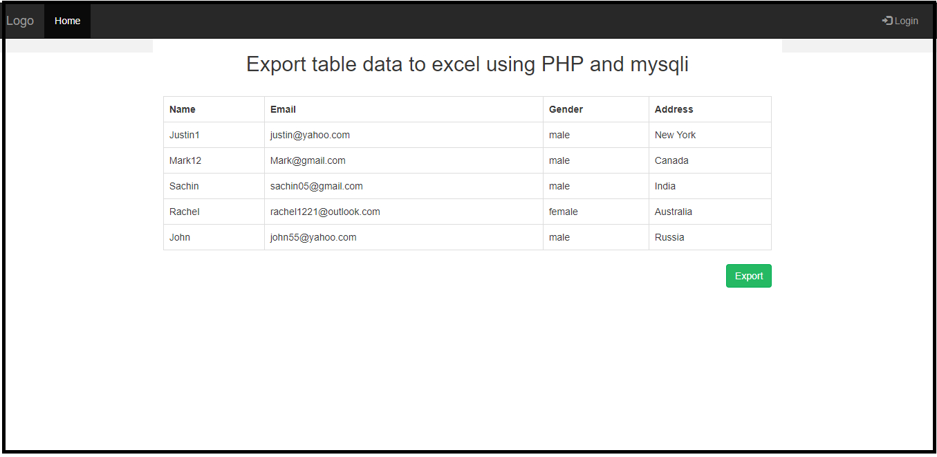 Export Table Data To Excel Using Php And Mysqli - Free inside Export Date In Excel To Calendar