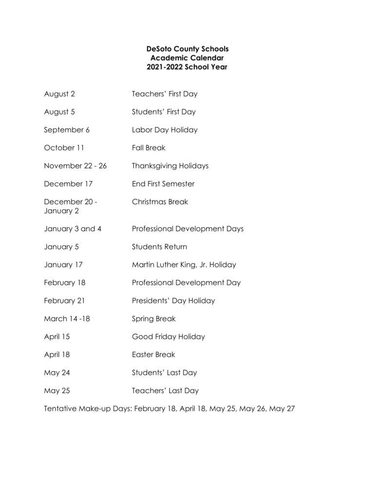 😄 Desoto County School District Calendar 2021-2022😄 regarding 2022 Monterey County Schedule