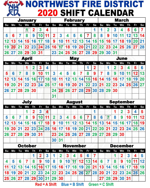 Firefighter Shift Calendar 2020 Printable | Example intended for Jfrd 2022 Shift Calendar