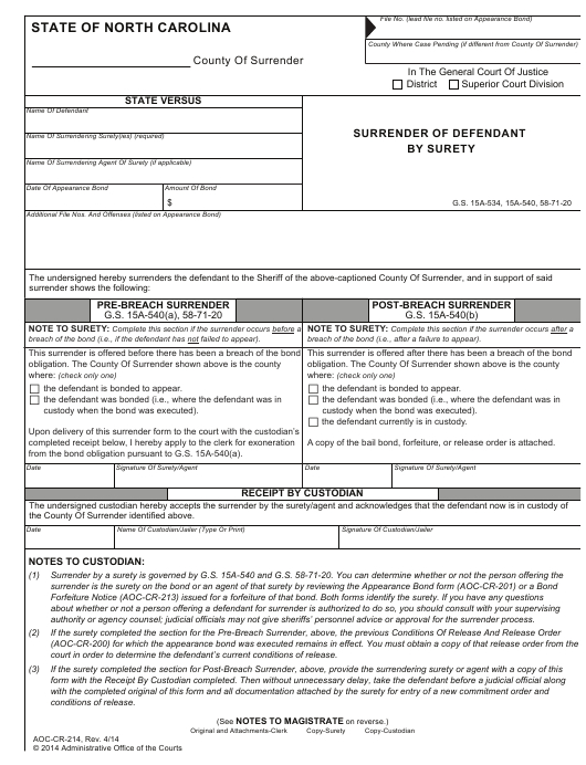 Form Aoc-Cr-214 Download Fillable Pdf Or Fill Online regarding Defendent Query For Nc Court Date