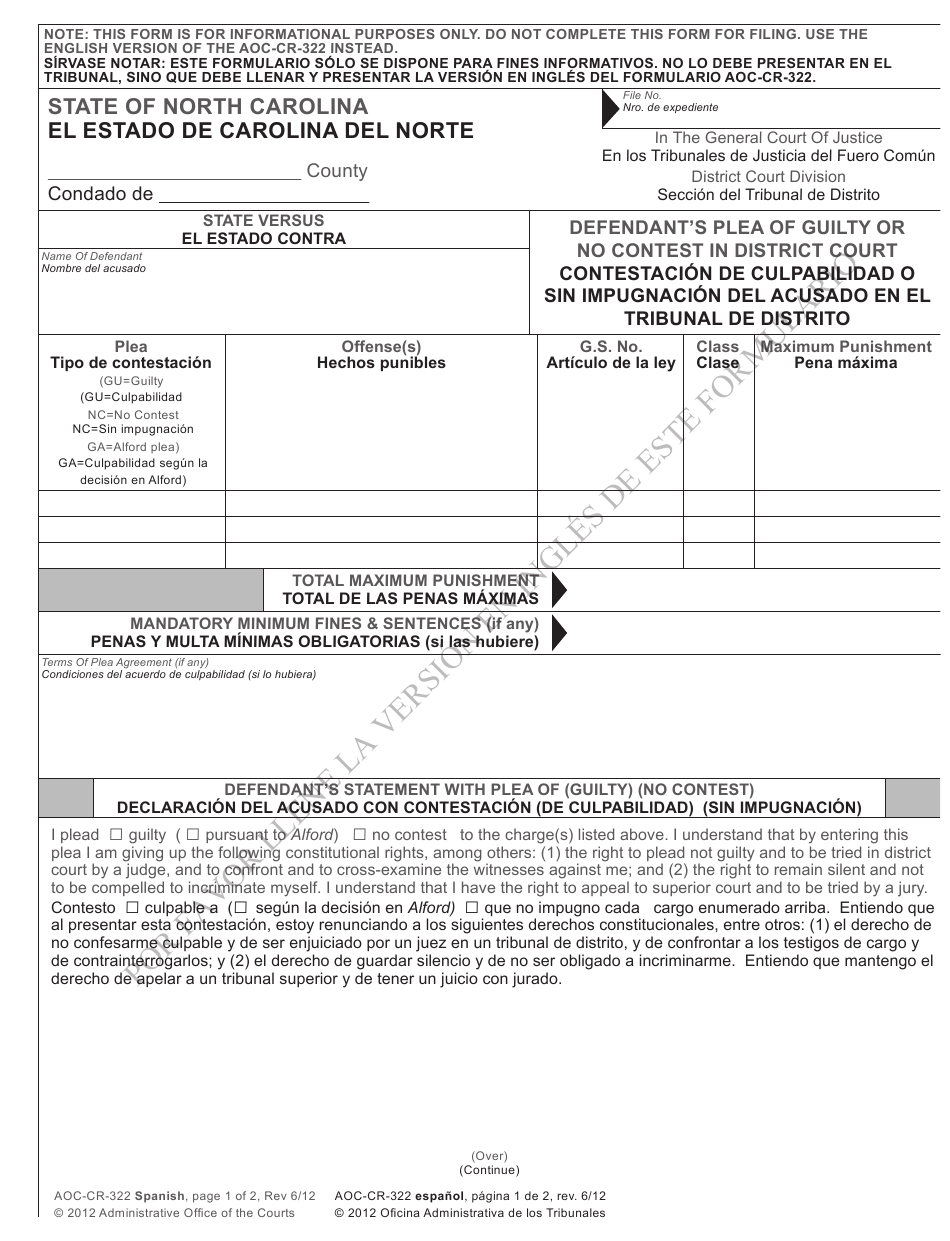 Form Aoc-Cr-322 Download Printable Pdf Or Fill Online intended for Defendent Query For Nc Court Date