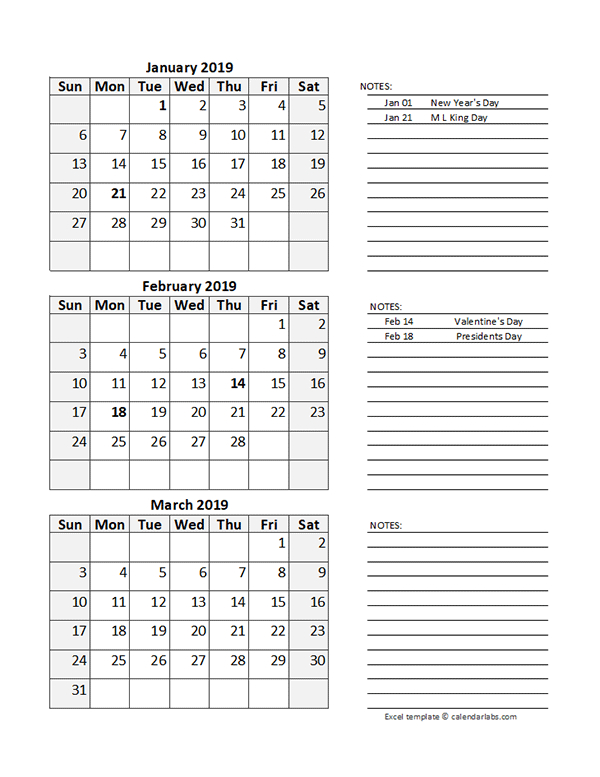 Free 2019 Quarterly Calendar Spreadsheet - Free Printable intended for How To Convert Xcel Doc To Calendar