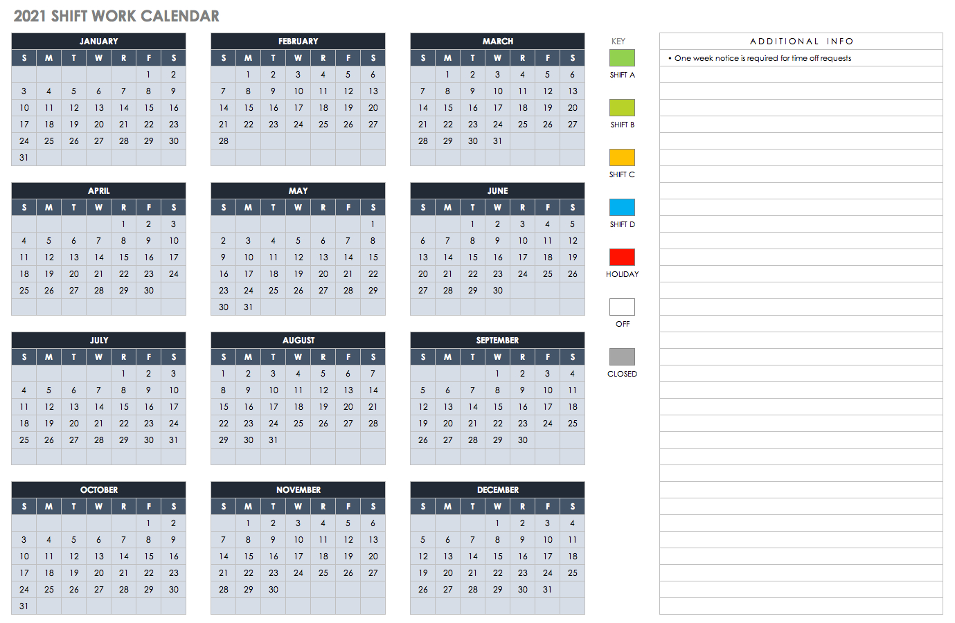 Free Blank Calendar Templates - Smartsheet for Jfrd 2022 Shift Calendar