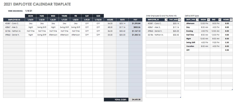 Free Blank Calendar Templates - Smartsheet in Jfrd 2022 Shift Calendar