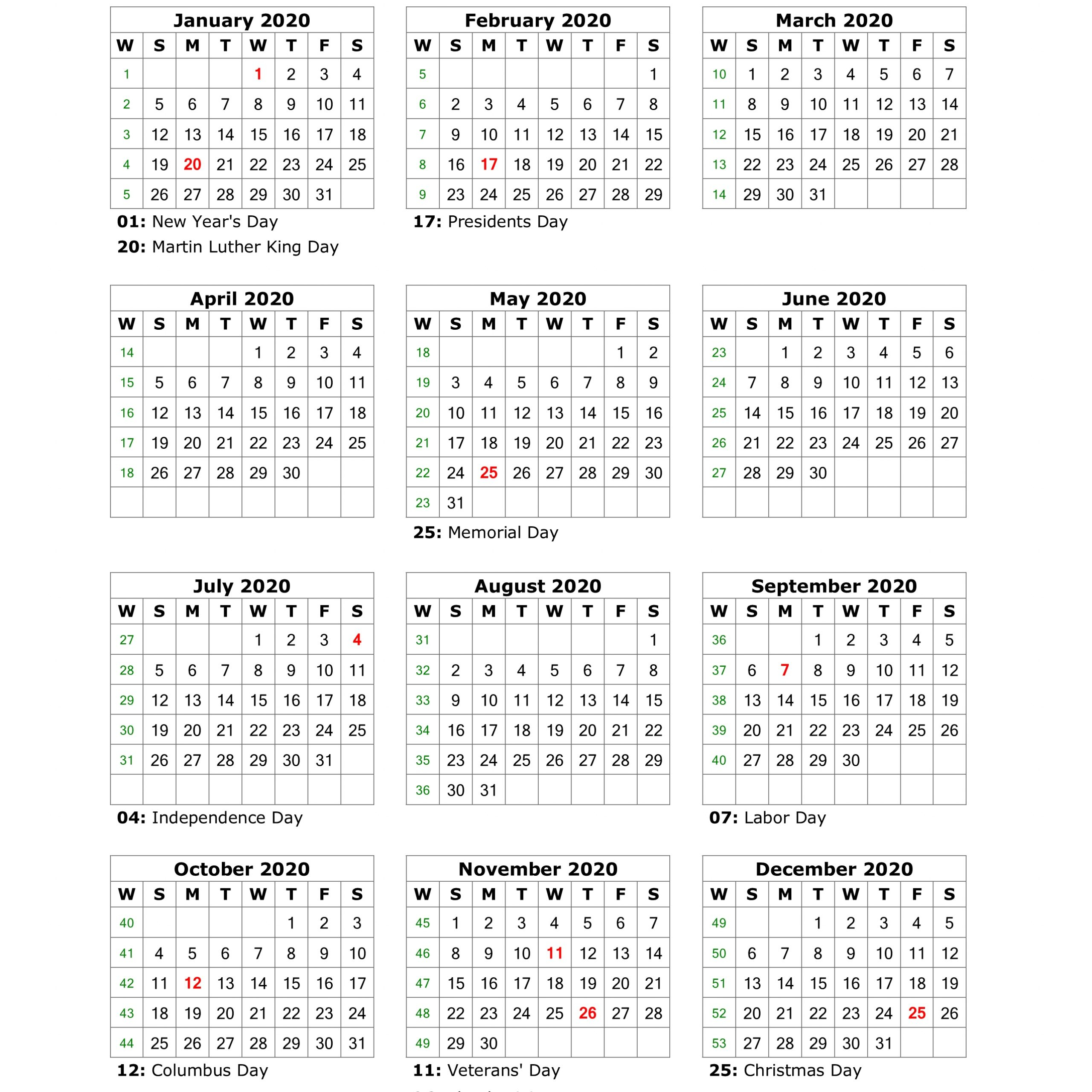 Free Printable 2020 Calendar With Holidays Vertical   Free with regard to Are Daily Holiday Calendars Copyright
