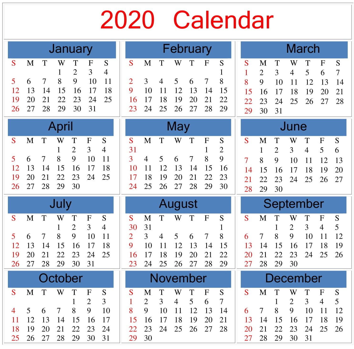 Free Printable 2020 Calendar Word, Pdf, Excel Document intended for How To Convert Xcel Doc To Calendar