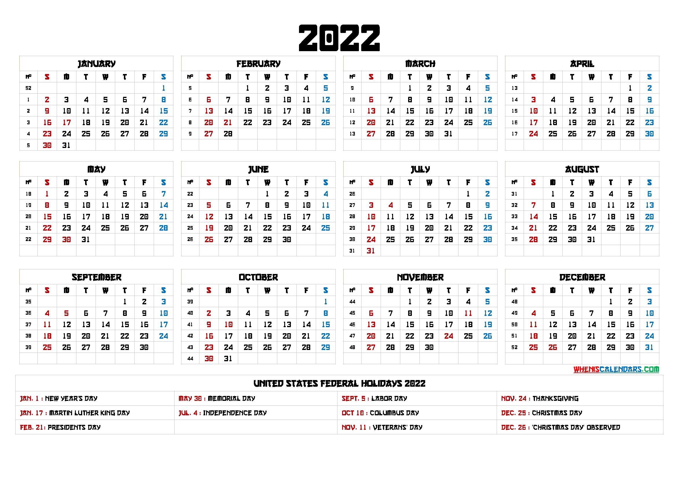 Free Printable 2022 Calendar Templates - 6 Templates In inside Walmart Fiscal Calendar For 2022