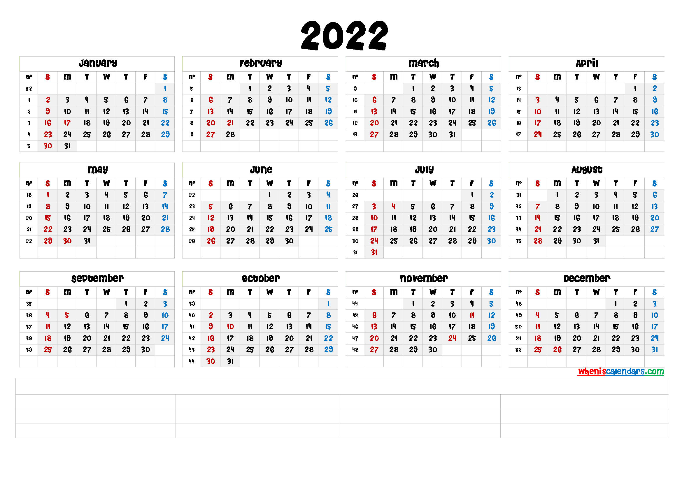 Free Printable 2022 Calendarmonth (6 Templates) - Free with Julian Date The Years Only 2022