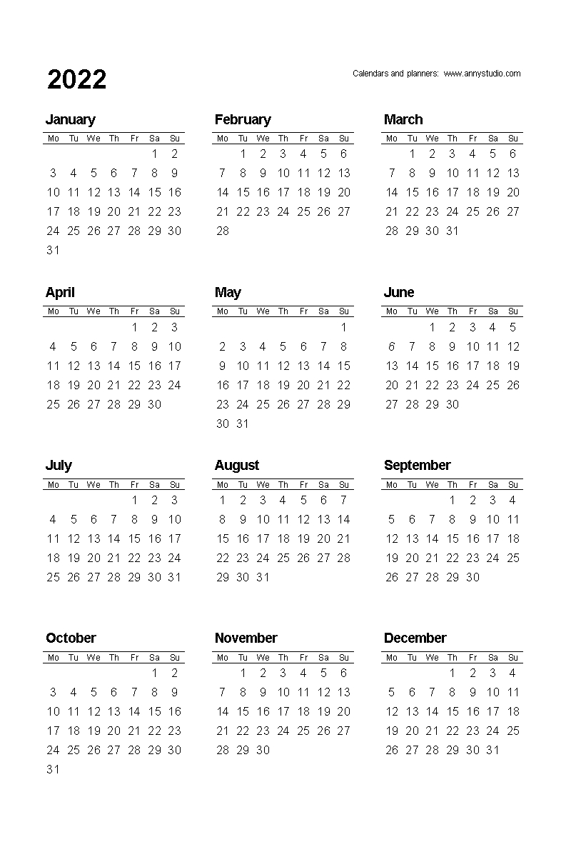 Free Printable Calendars And Planners 2021, 2022 And 2023 throughout 2022 Day To Day Calendars For Men