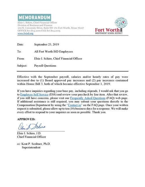 Fwisd Cfo Issues Memo Regarding Payroll Questions pertaining to Fort Worth Isd Employee Calendar