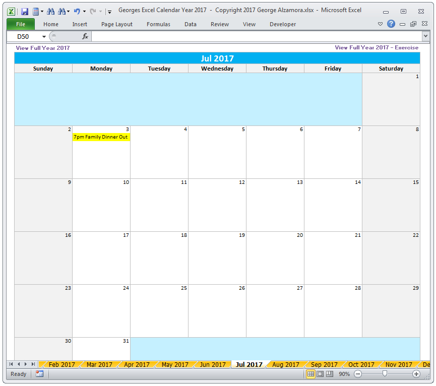 Georges Excel Calendar Year 2017 (With Images) | Excel intended for Export Excel Worksheet Into A Calendar