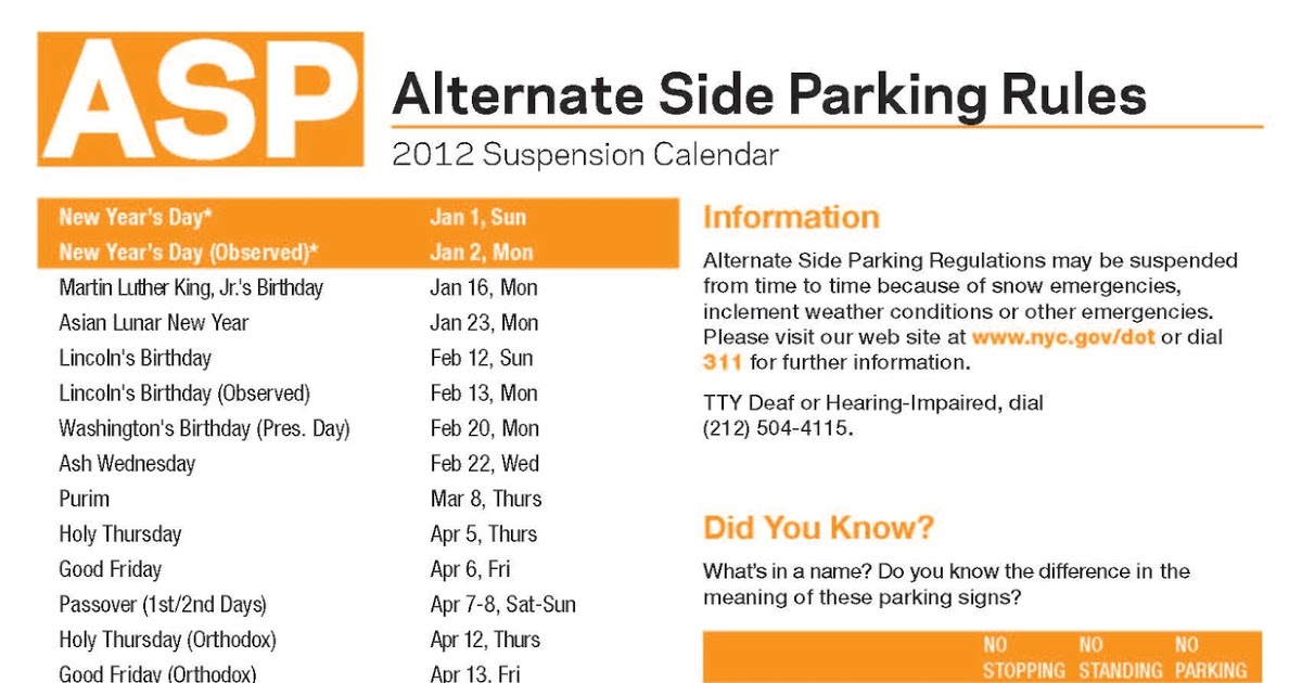 Getting From Here To There: The 2012 Alternate Side pertaining to Alternate Side 2022 Calendar