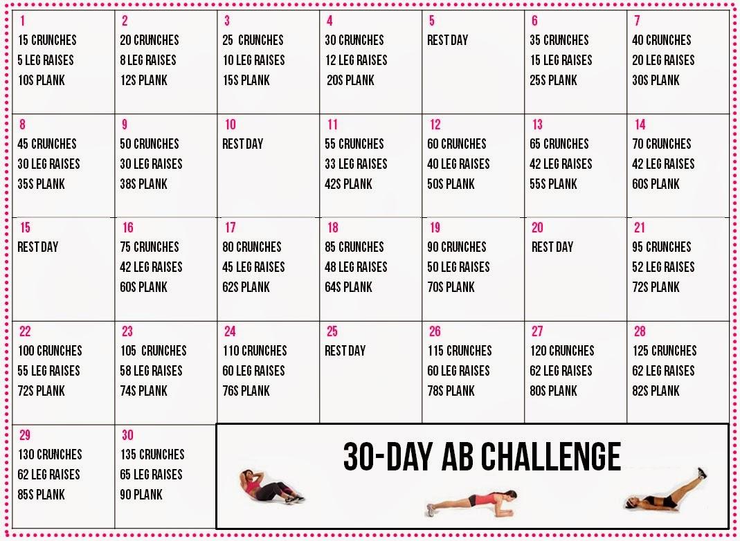 Healthy Living: 30-Day Ab Challenge Calendar inside 30 Day Leg Challenge Printable Pdf
