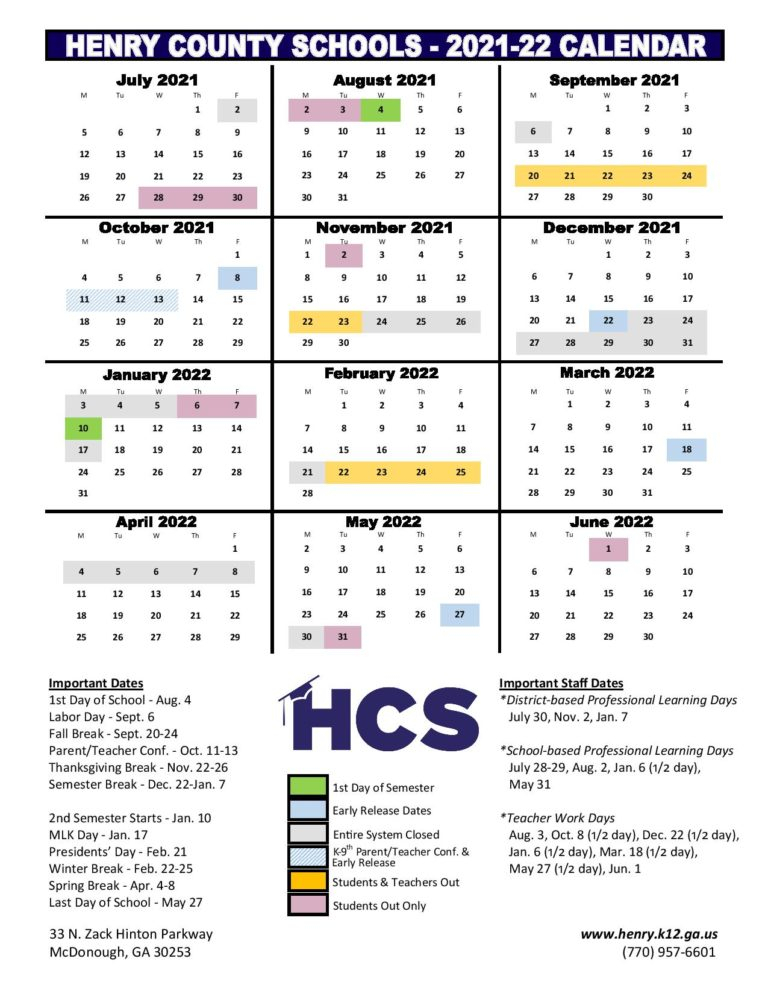 Henry County Schools Calendar 2021-2022 In Pdf throughout 2022 Monterey County Schedule