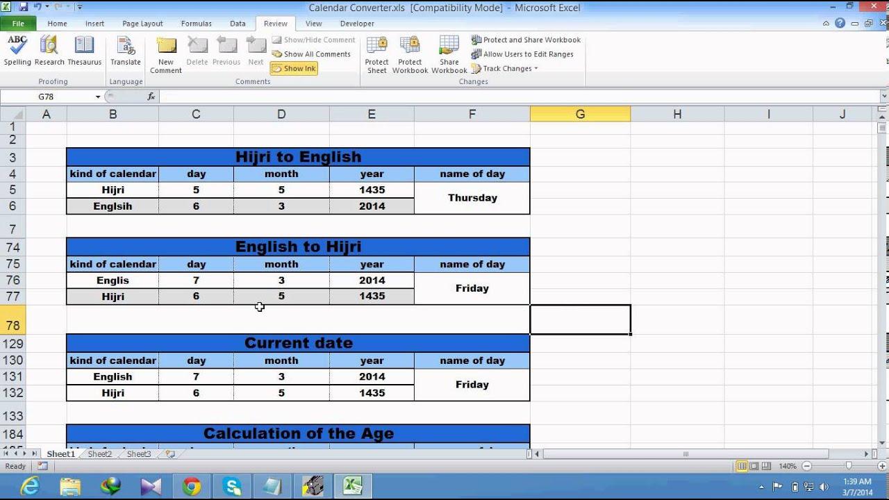Hijri To Gregorian Calendar,Gregorian To Hijri Calendar In with Excel Convert To Calendar