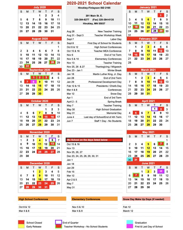 Hinckley-Finlayson School District Calendar 2020 And 2021 within U Of Mn Calendar 2022