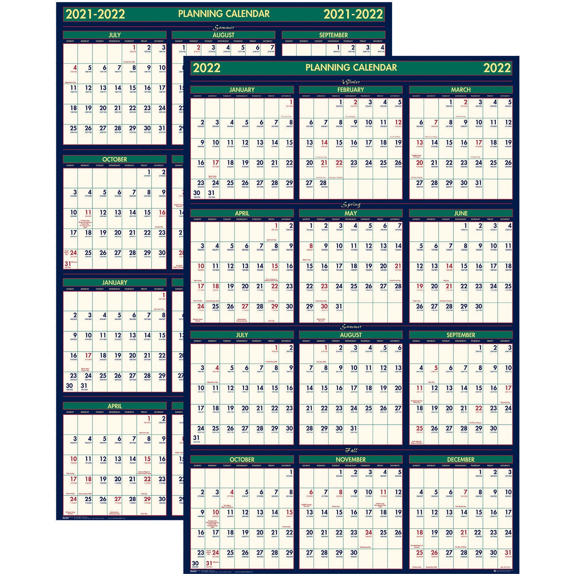 House Of Doolittle 3-Month Horizontal Wall Calendar with regard to Yearly Julian Calendar 2022