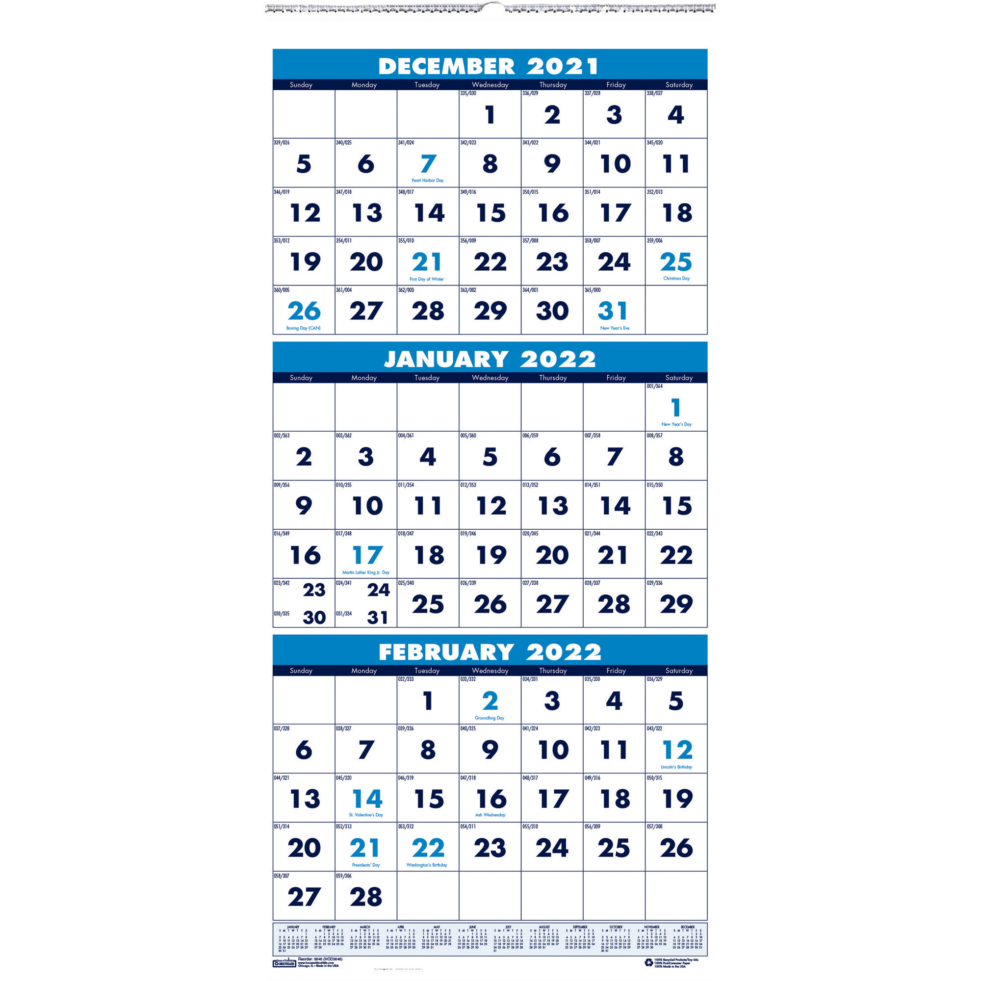 """House Of Doolittle 3-Month Vertical 17"""" Wall Calendar intended for January 2022 Calendar With Julian Dates"""
