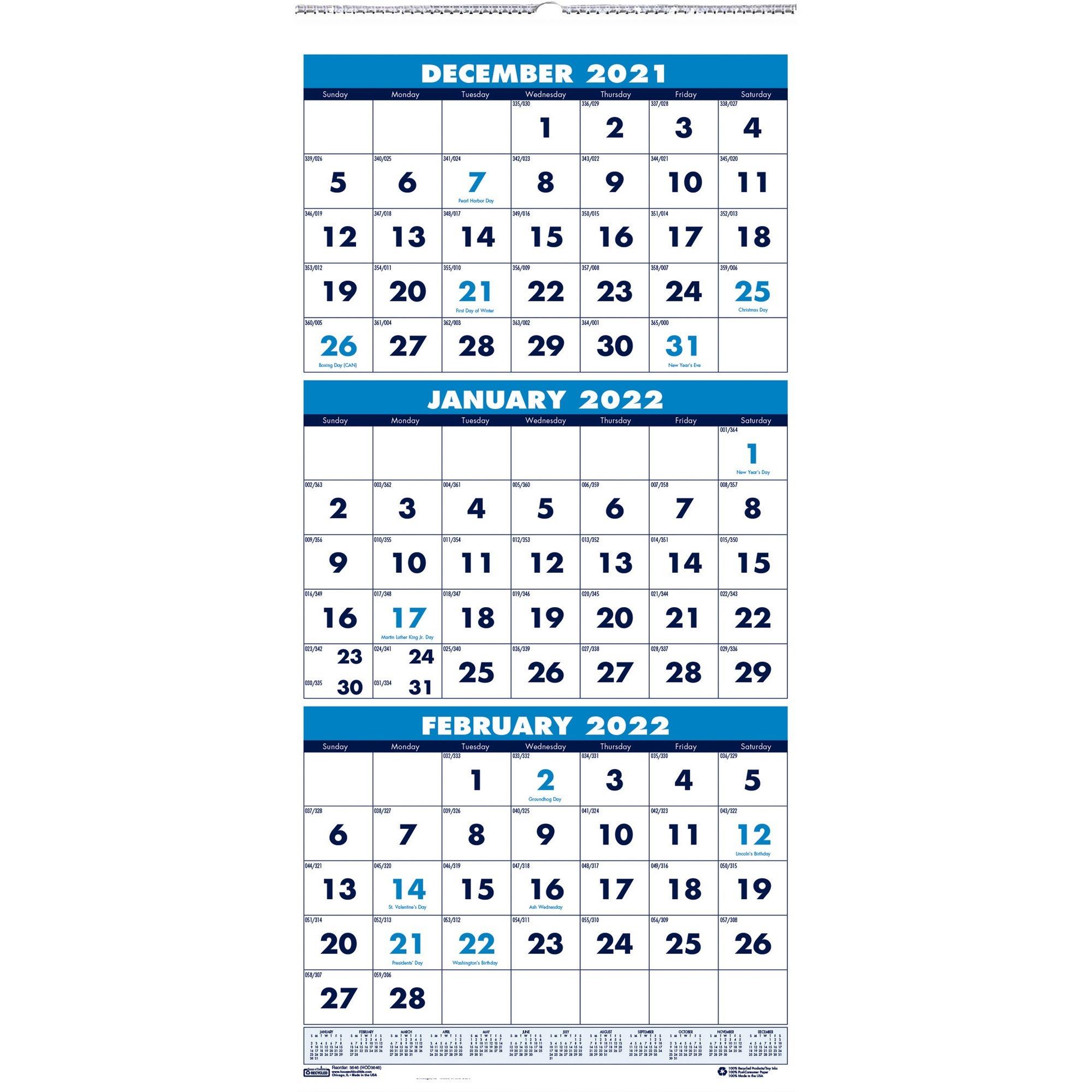 "House Of Doolittle 3-Month Vertical 17"" Wall Calendar with regard to Julian Date For 2022"