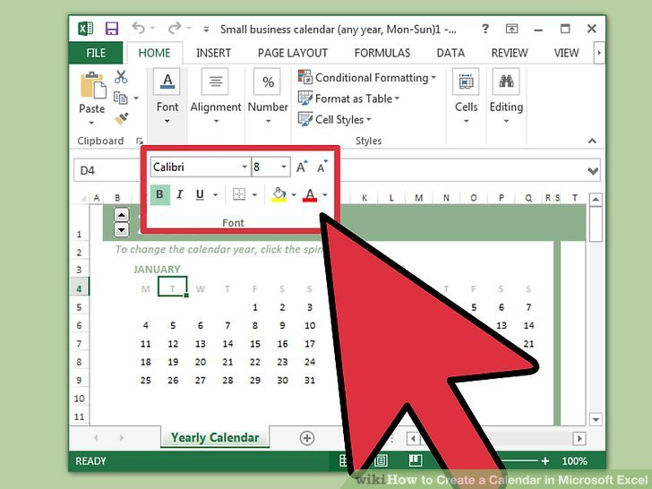 How To Create A Calendar In Microsoft Excel (With Pictures) regarding Turn Excel Spreadsheet Into Calendar