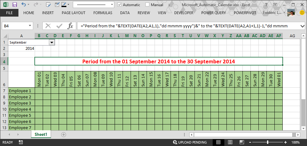 How To Make Automatic Calendar In Excel with regard to Formate Excell To Calendar