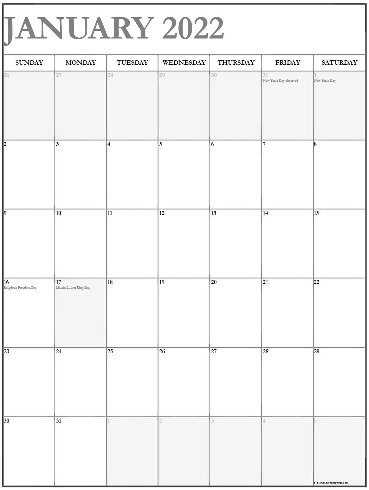 January 2022 Vertical Calendar | Portrait pertaining to 2022 Day To Day Calendars For Men