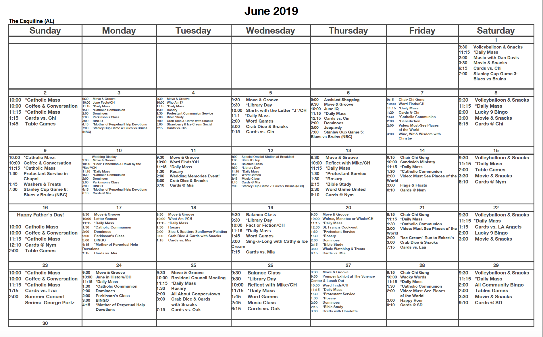 June 2019 St. Francis Center For Assisted Living inside Assisted Living Facility Activity Calendar