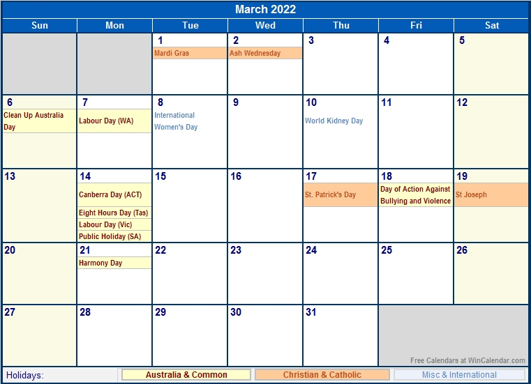 March 2022 Australia Calendar With Holidays For Printing within 2022 Day To Day Calendars For Men